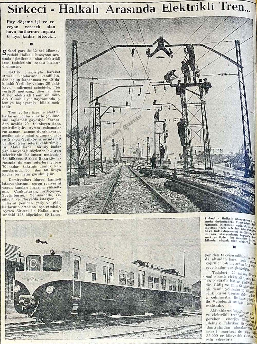 Sirkeci-Halkalı Arasında Elektrikli Tren