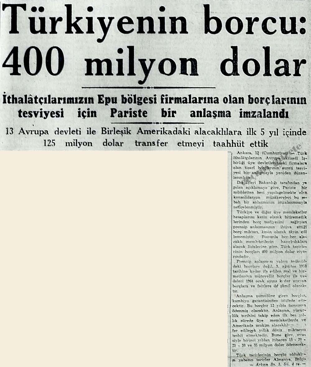 Türkiyenin borcu: 400 milyon dolar