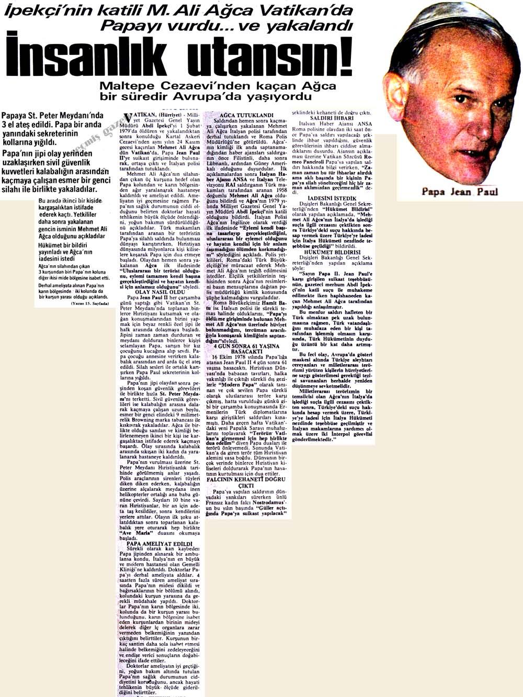 M. Ali Ağca Vatikan'da Papayı vurdu