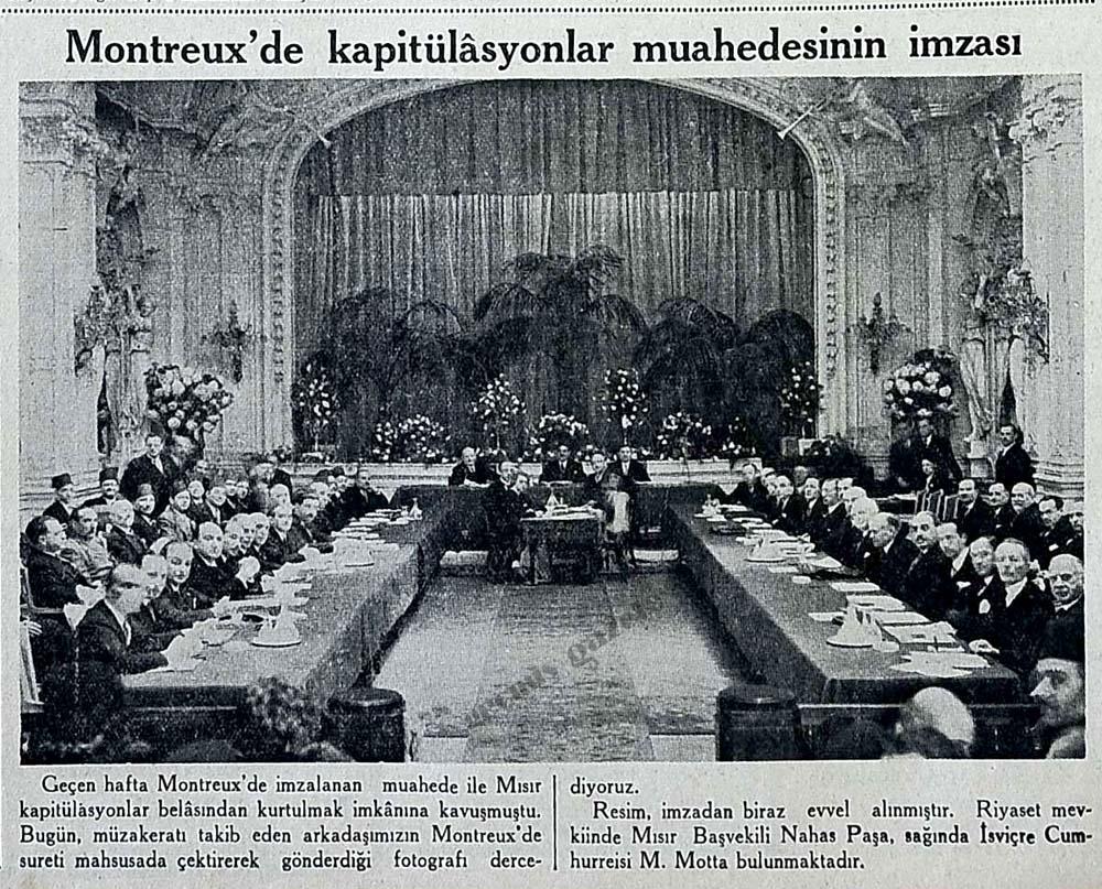Montreux'de kapitülasyonlar muahedesinin imzası