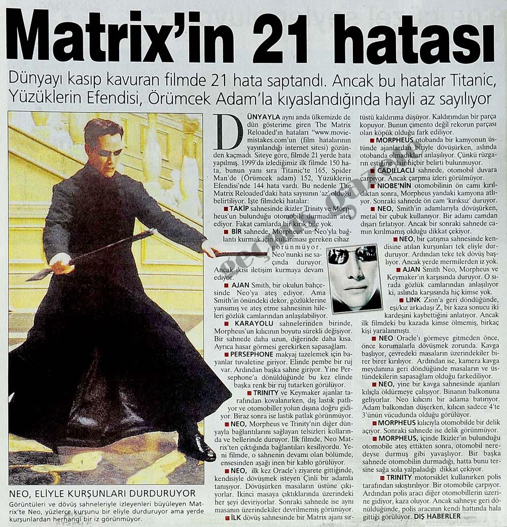 Matrix'in 21 hatası