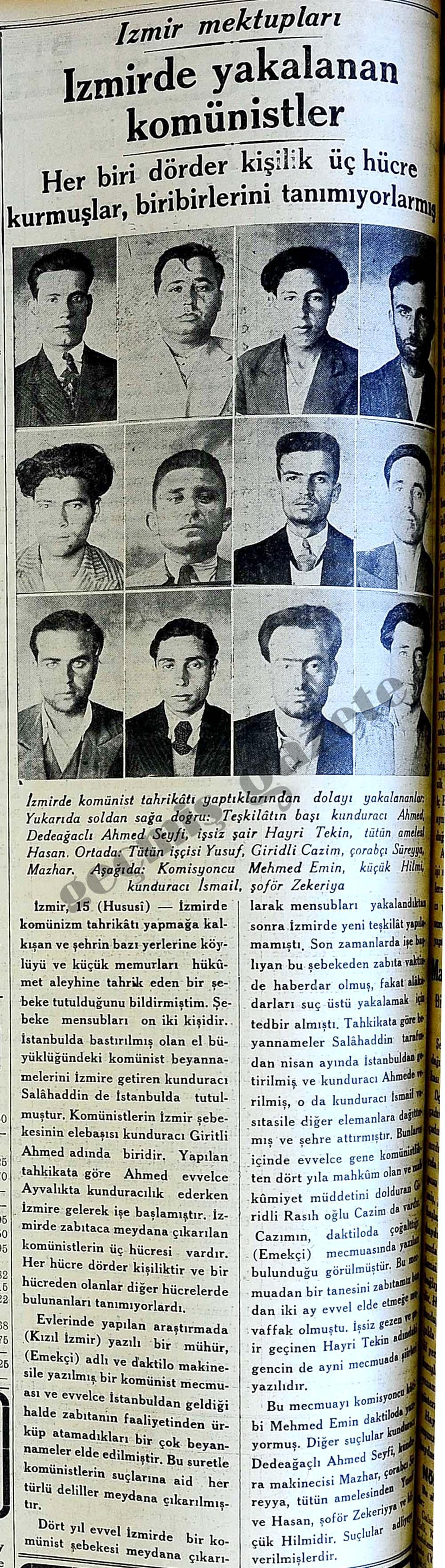 İzmirde yakalanan komünistler