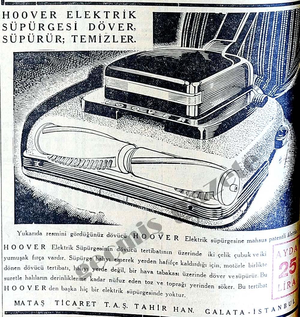 Hoover elektrik süpürgesi döver, süpürür; temizler
