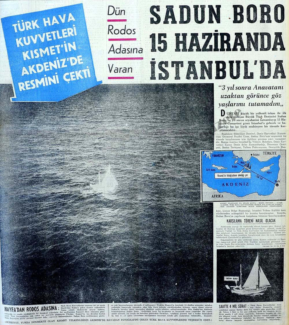Dün Rodos Adasına varan Sadun Boro 15 Haziranda İstanbul'da