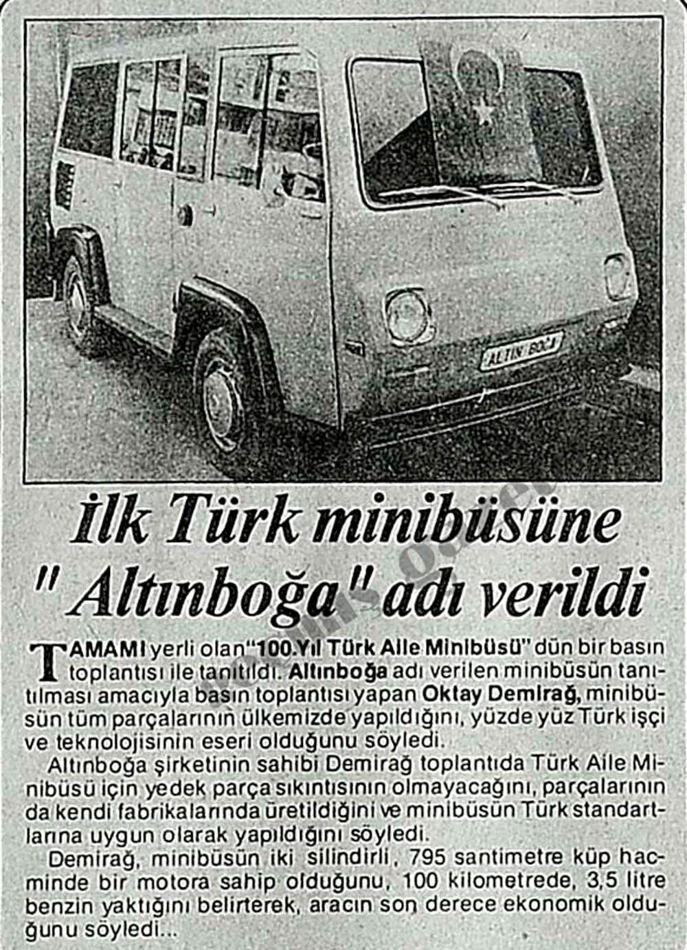 """İlk Türk minibüsüne """"Altınboğa"""" adı verildi"""