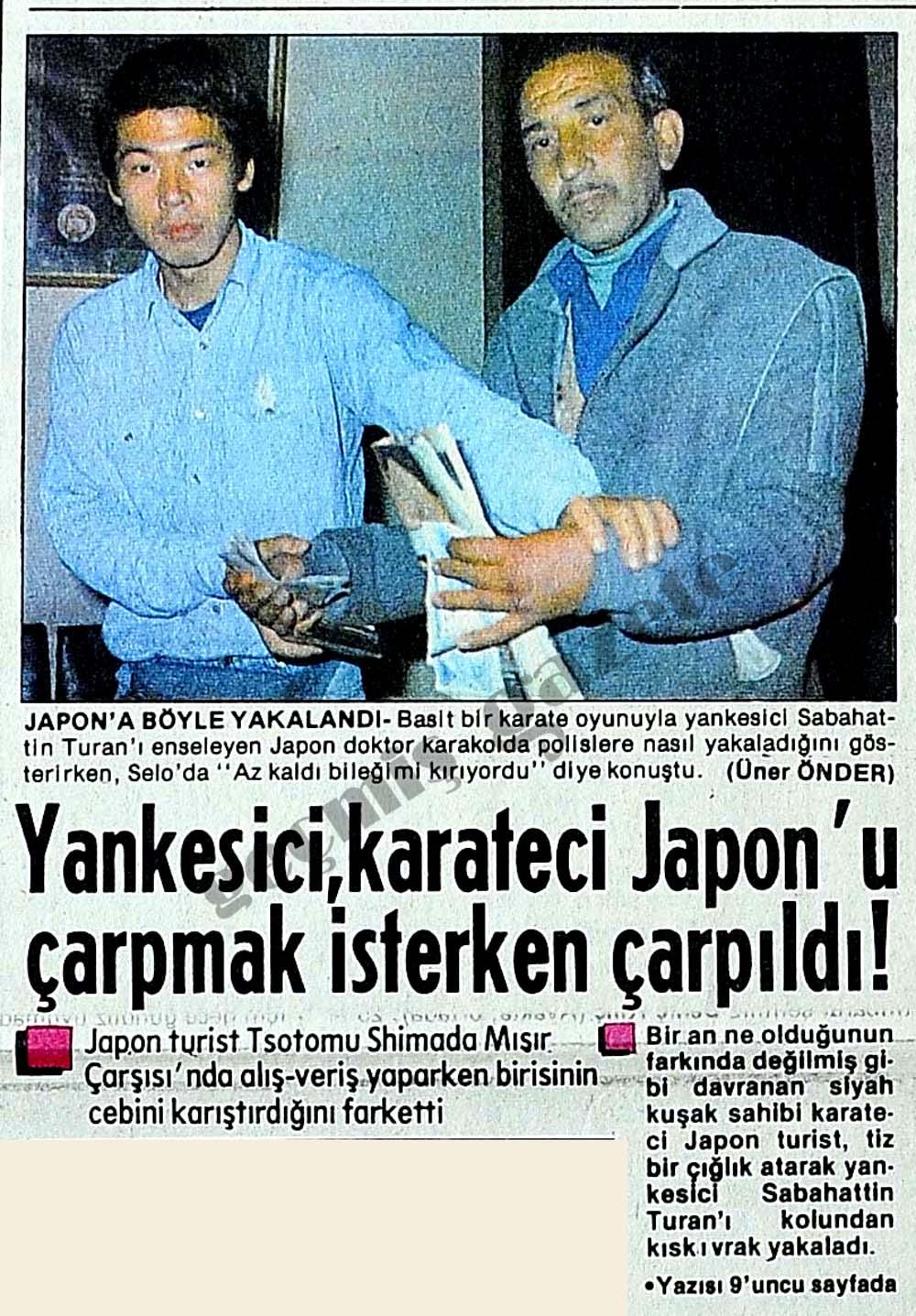 Yankesici, karateci Japon'u çarpmak isterken çarpıldı!