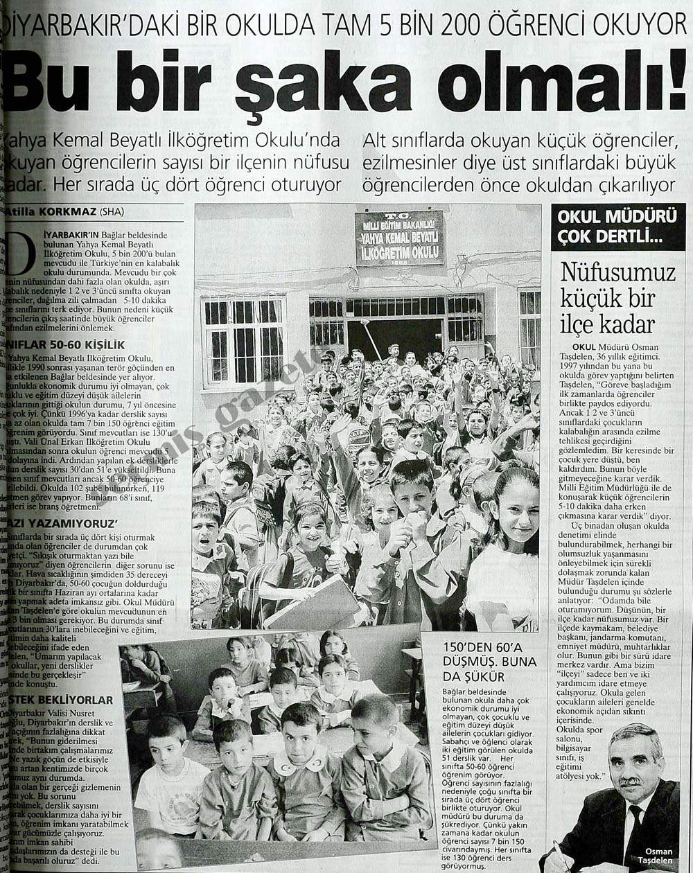 Diyarbakır'daki bir okulda tam 5 bin 200 öğrenci okuyor