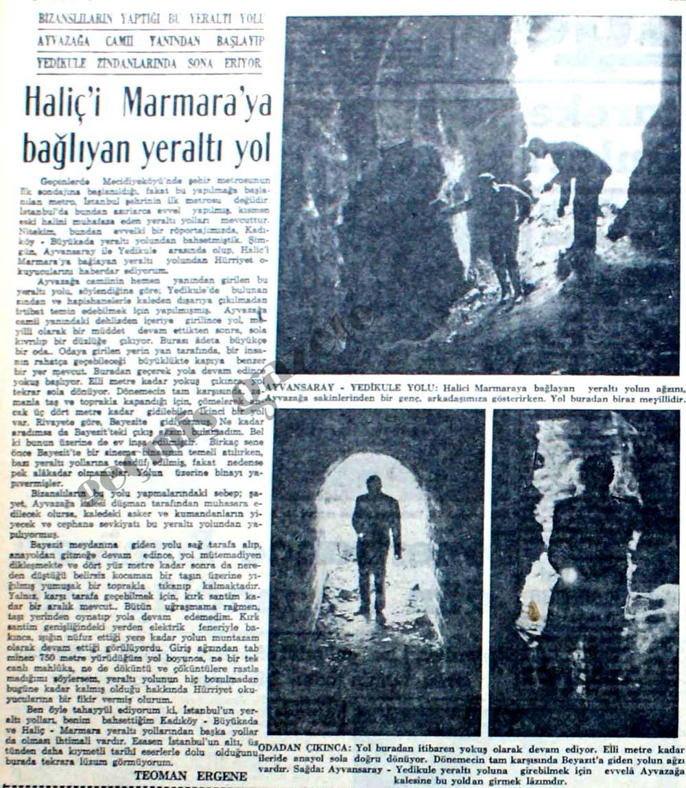Haliç'i Marmara'ya bağlıyan yeraltı yol