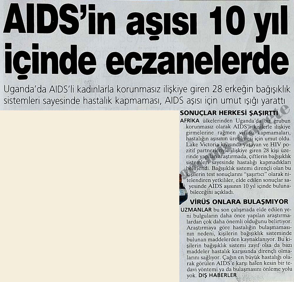 AIDS'in aşısı 10 yıl içinde eczanelerde