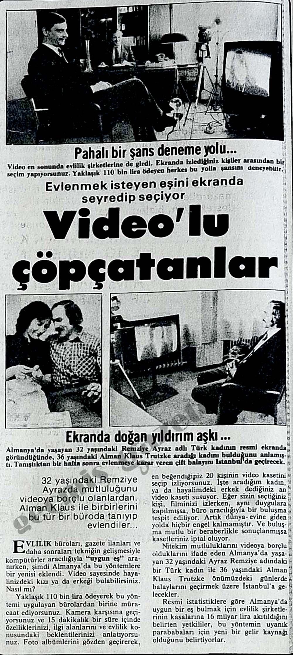 Evlenmek isteyen eşini ekranda seyredip seçiyor: Video'lu çöpçatanlar