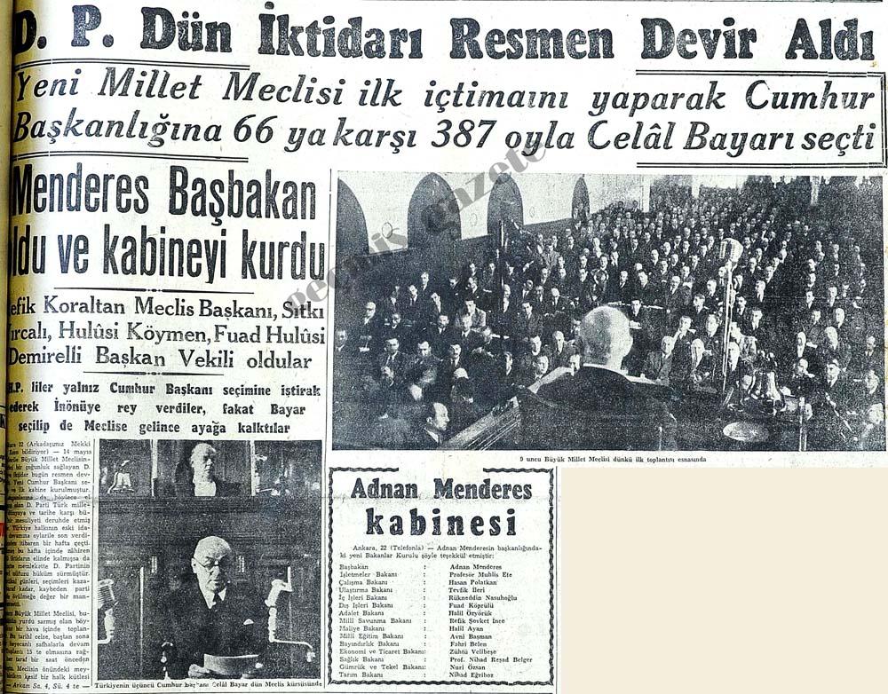 Menderes Başbakan oldu ve kabineyi kurdu