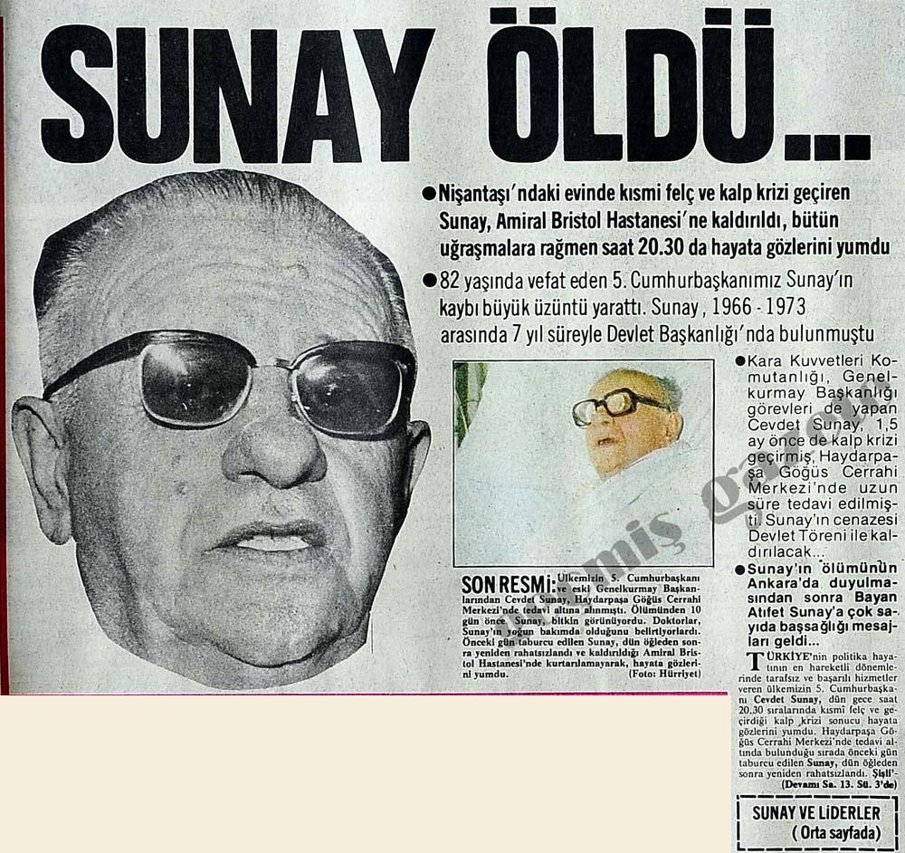 Cevdet Sunay öldü...