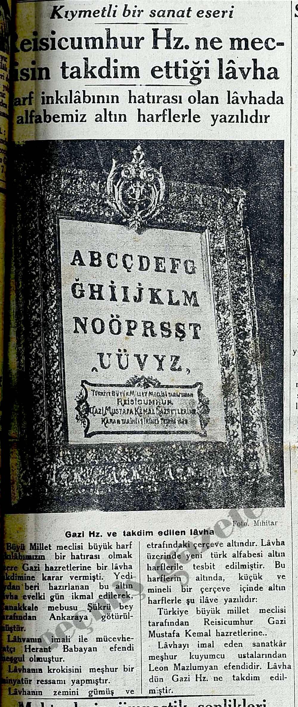 Reisicumhur Hz. ne meclisin takdim ettiği lavha