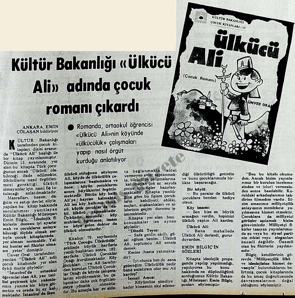 """Kültür Bakanlığı """"Ülkücü Ali"""" adında çocuk romanı çıkardı"""