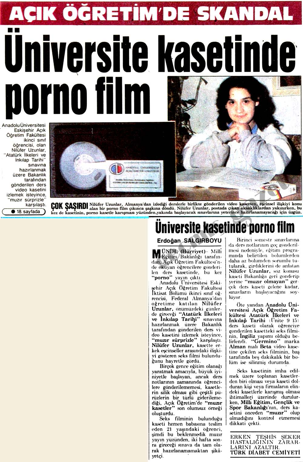 Üniversite kasetinde porno film