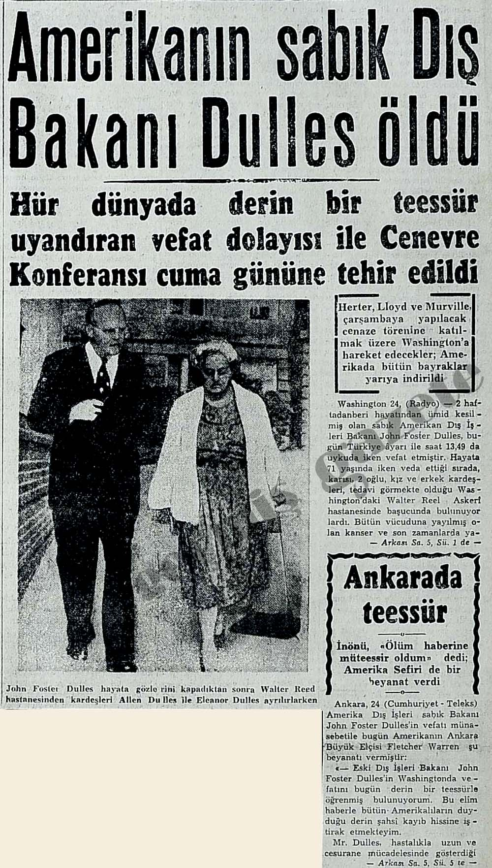 Amerikanın sabık Dış Bakanı Dulles öldü