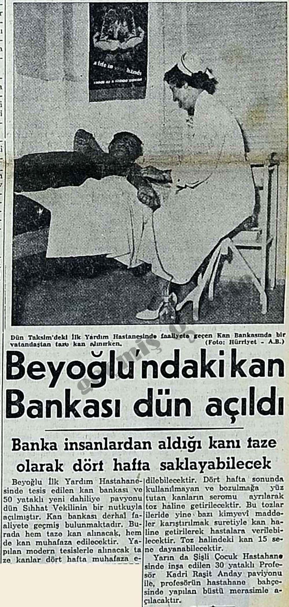 Beyoğlu'ndaki kan Bankası dün açıldı