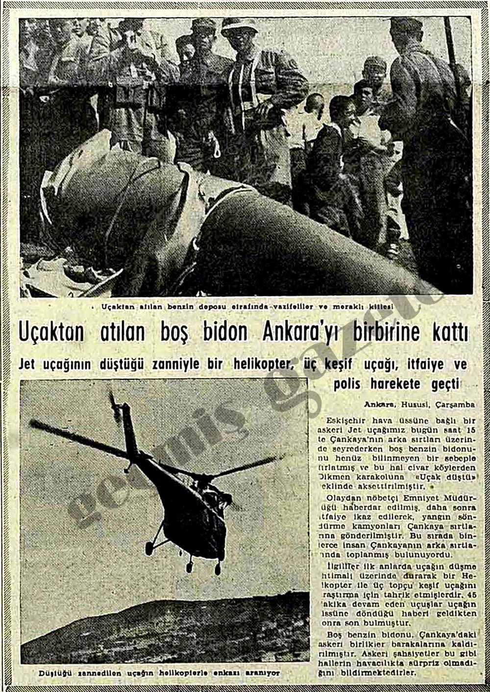 Uçaktan atılan boş bidon Ankara'yı birbirine kattı