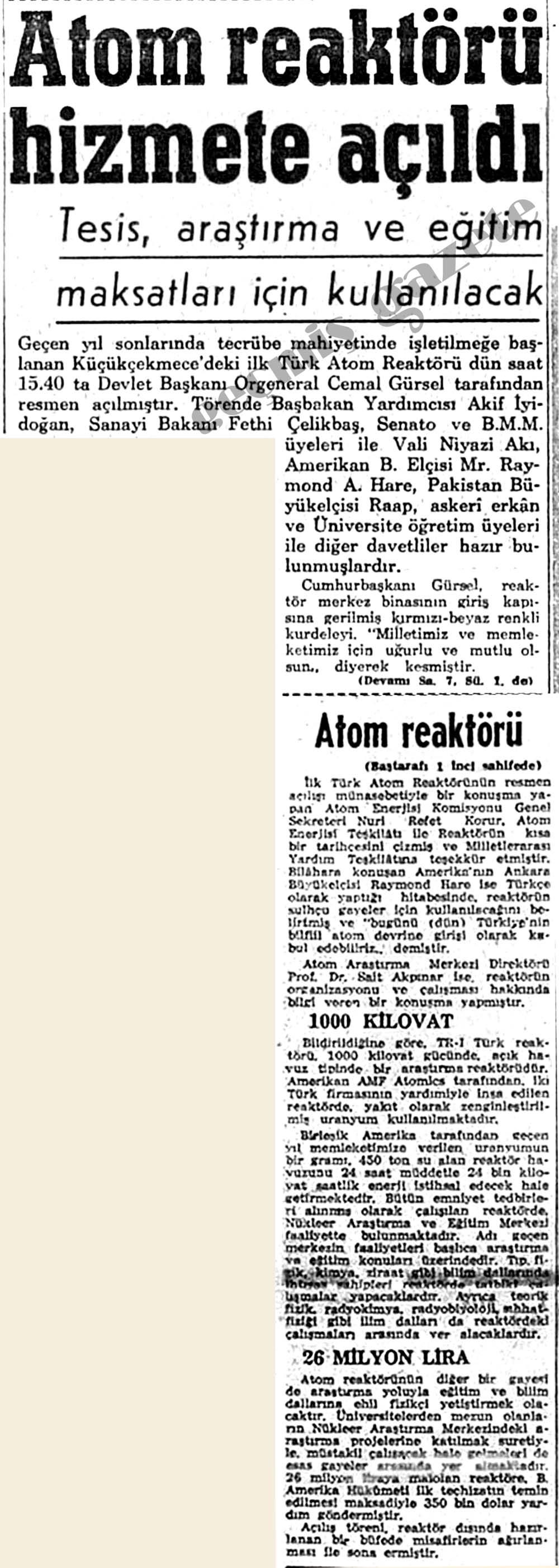 Atom reaktörü hizmete açıldı