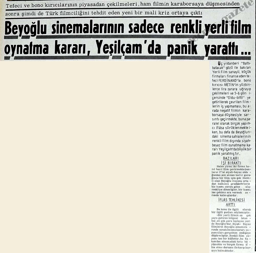 Beyoğlu sinemalarının sadece renkli yerli film oynatma kararı, panik yarattı