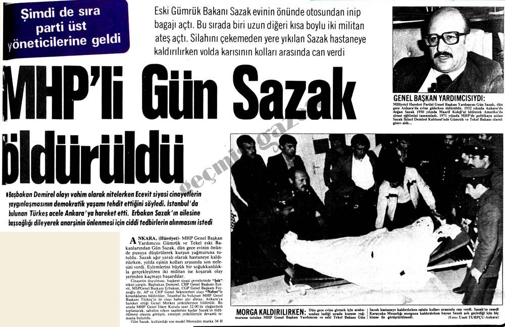 MHP'li Gün Sazak öldürüldü