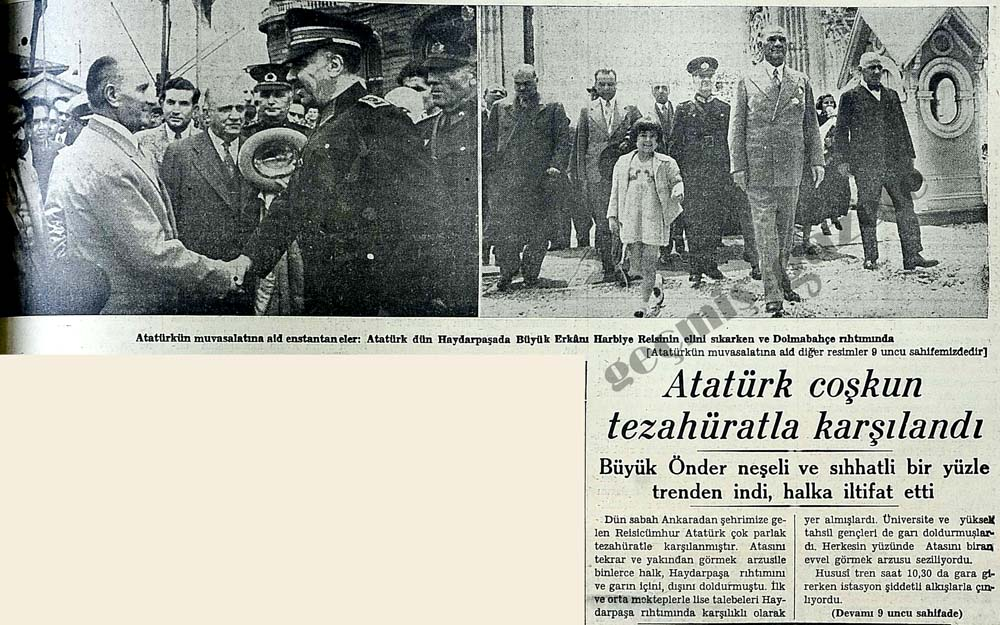 Atatürk coşkun tezahüratla karşılandı