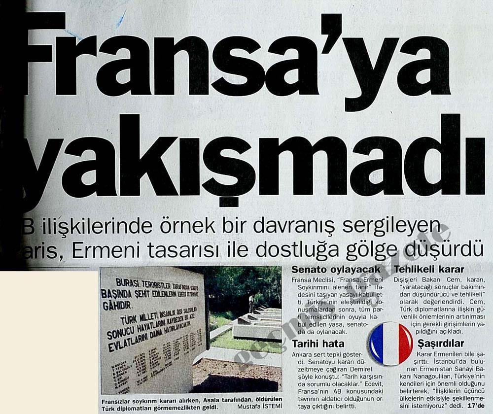 Sözde Ermeni soykırımı tasarısı Fransız Parlamentosu'nda 'oybirliği'yle kabul edildi