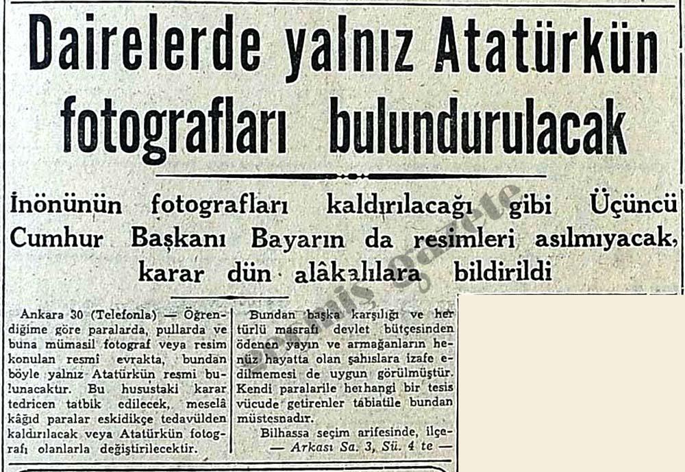 Dairelerde yalnız Atatürkün fotografları bulundurulacak