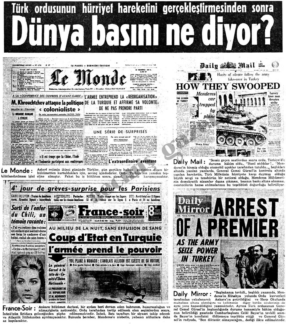 Türk ordusunun hürriyet hareketini gerçekleştirmesinden sonra Dünya basını ne diyor?