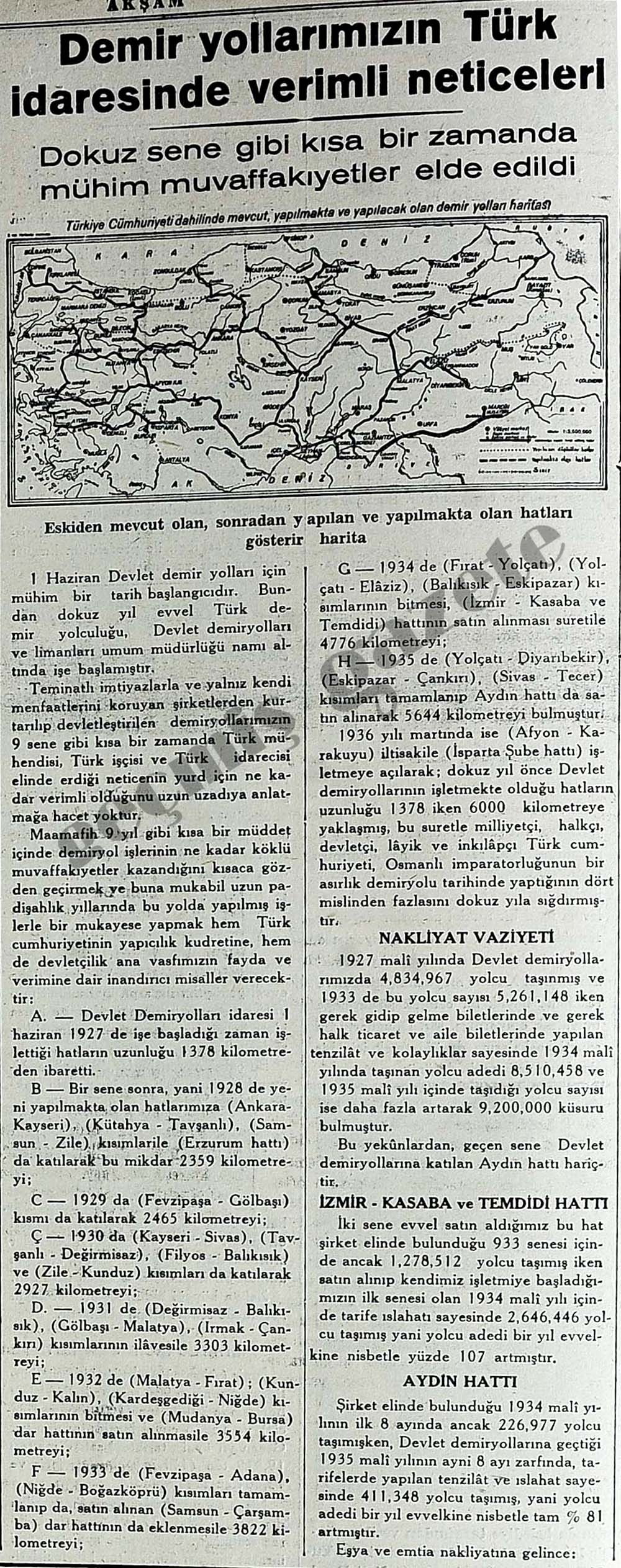 Demir yollarımızın Türk idaresinde verimli neticeleri