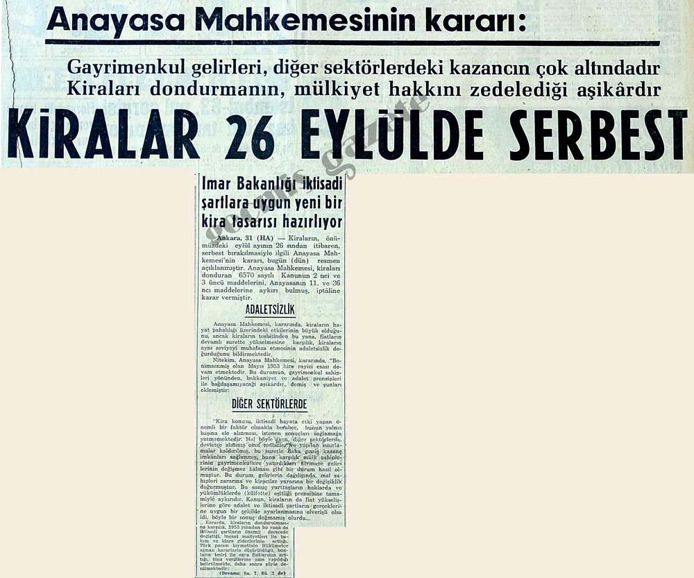 Anayasa Mahkemesinin kararı: Kiralar 26 eylülde serbest