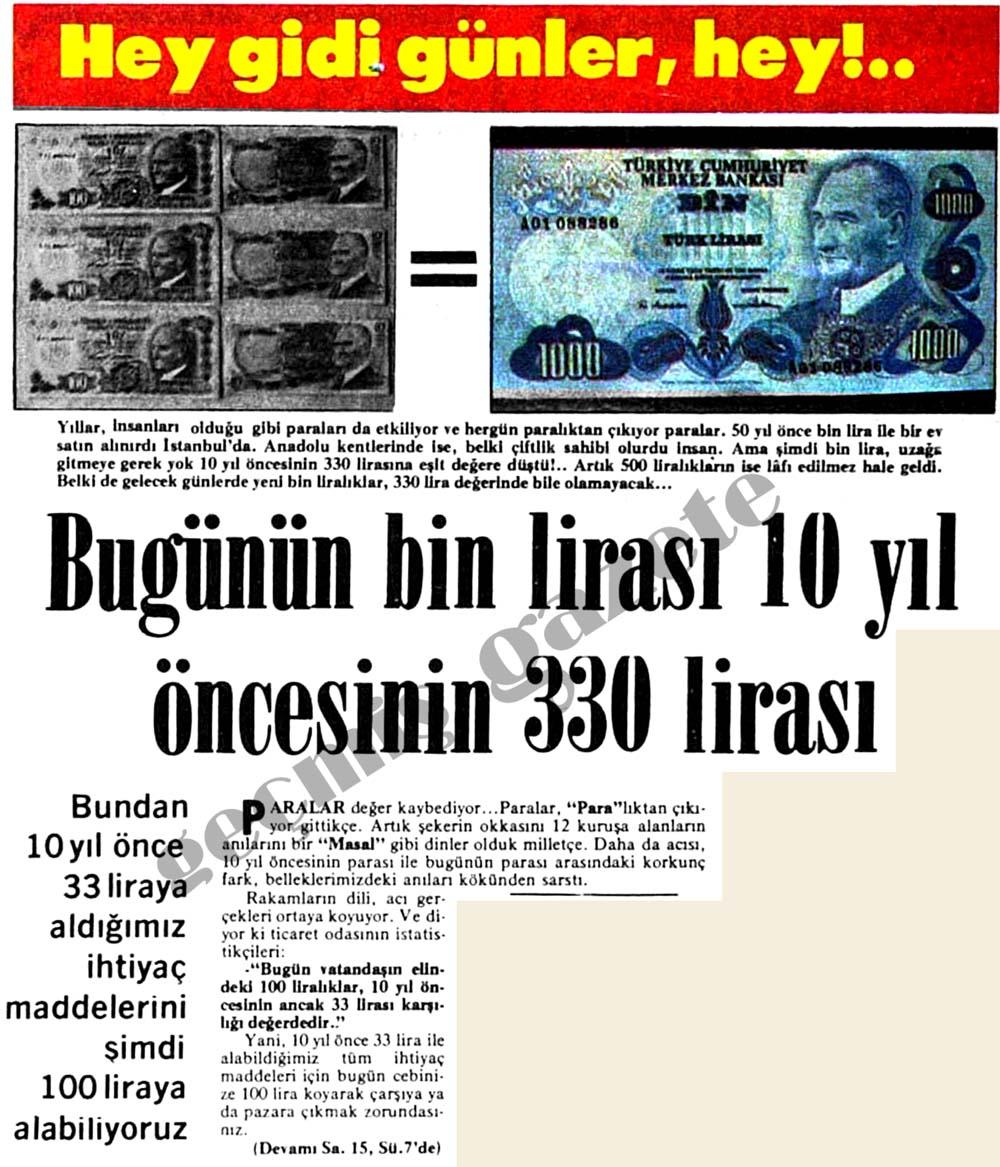 Bugünün bin lirası 10 yıl öncesinin 330 lirası
