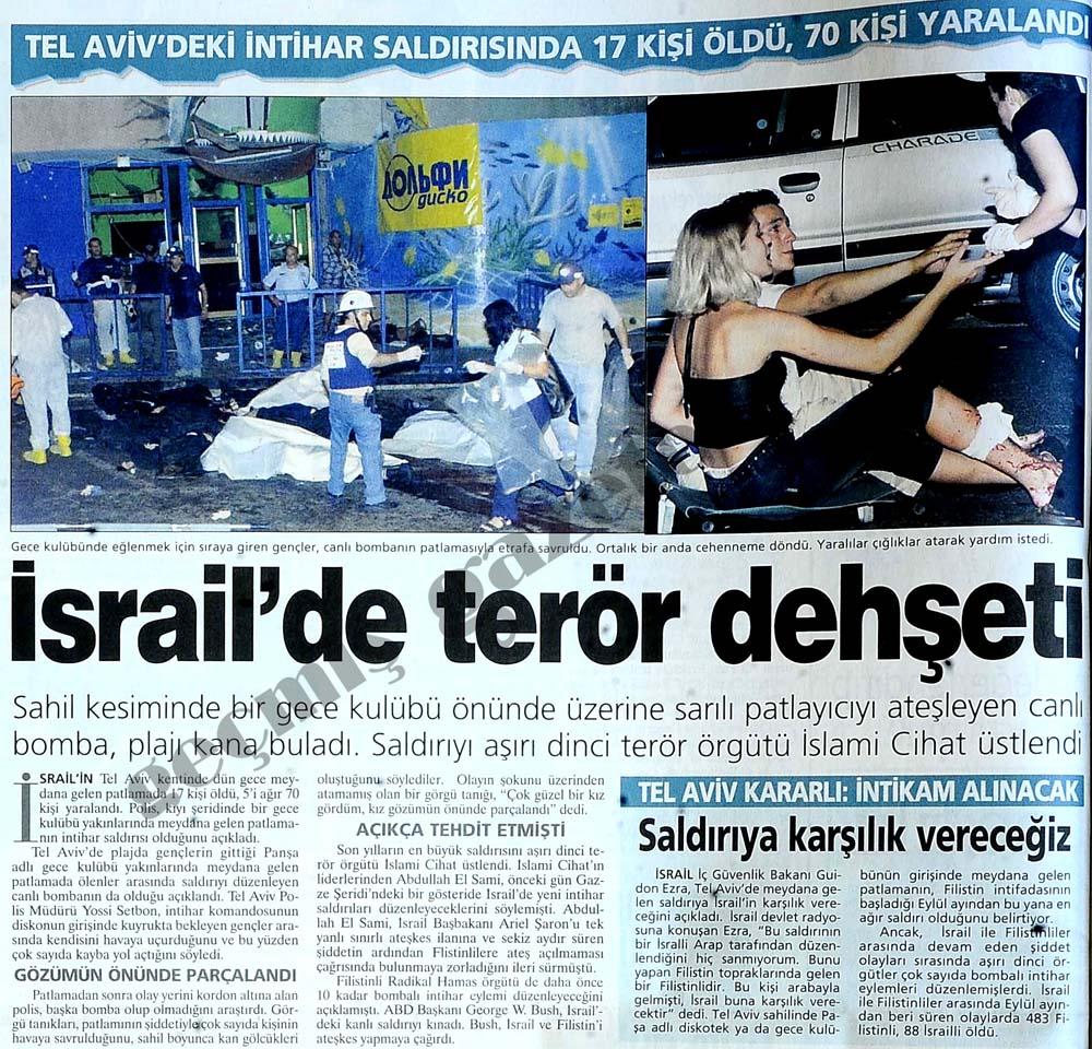 İsrail'de terör  dehşeti