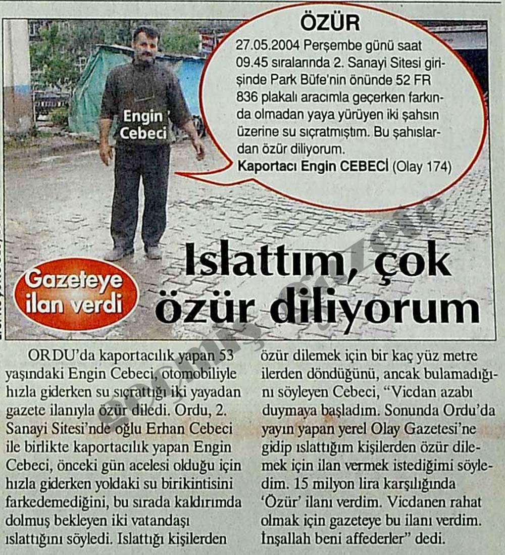Gazeteye ilan verdi: Islattım, çok özür diliyorum