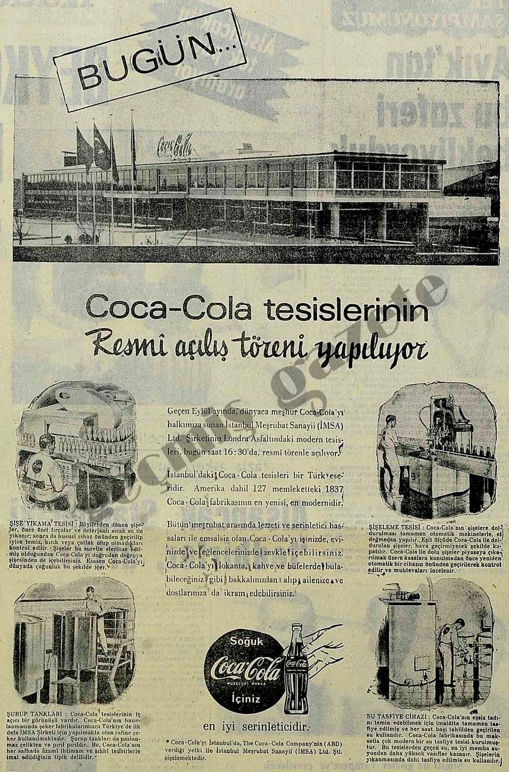 Bugün Coca-Cola tesislerinin resmi açılışı yapılıyor