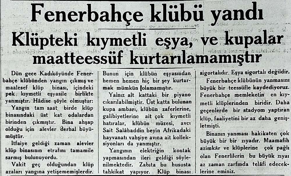 Fenerbahçe klubü yandı