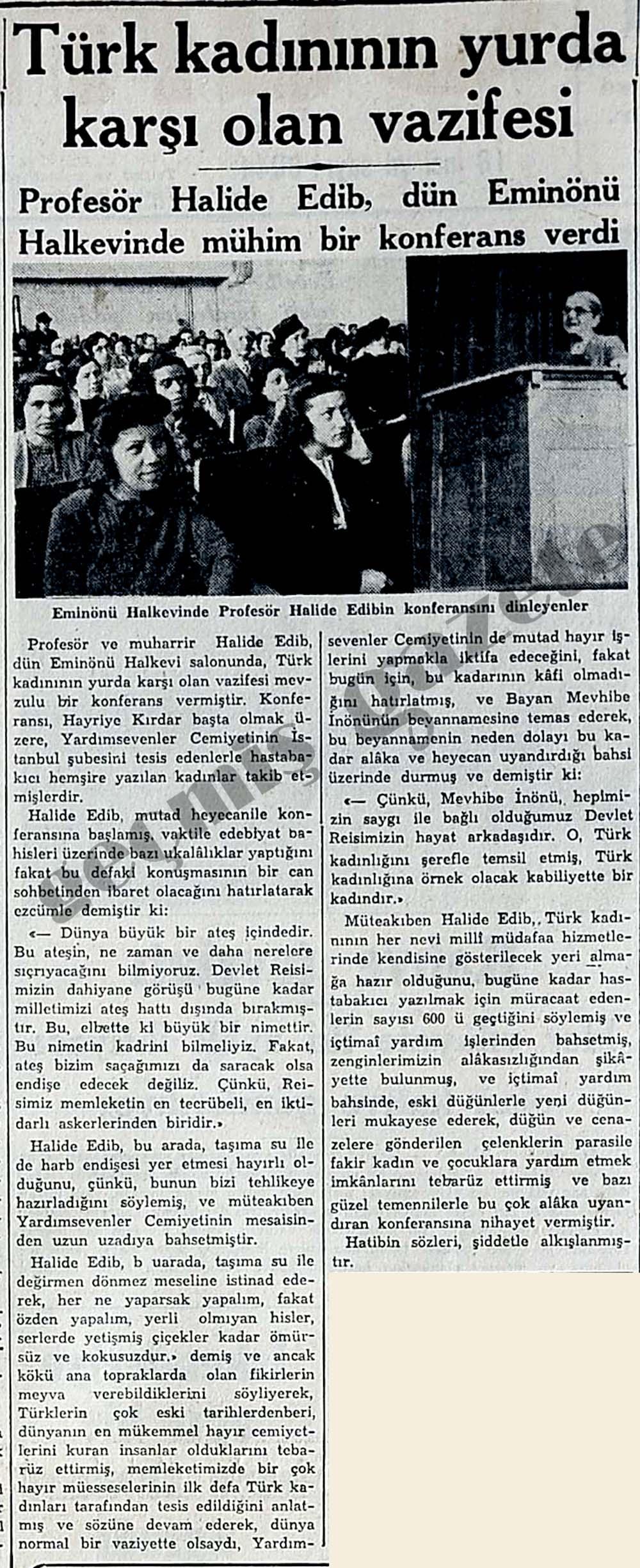 Türk kadınının yurda karşı olan vazifesi