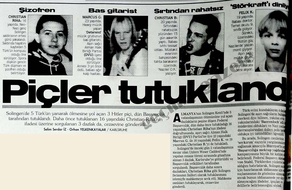 Solingen'de 5 Türk'ün yanarak ölmesine yol açan 3 Hitler piçi, tutuklandı
