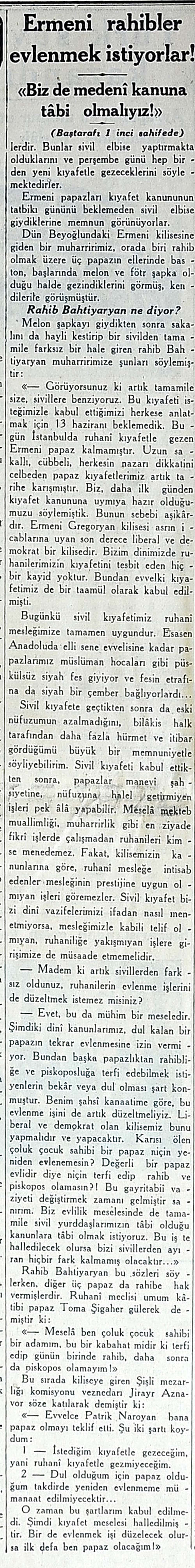 Ermeni rahibler evlenmek istiyorlar!