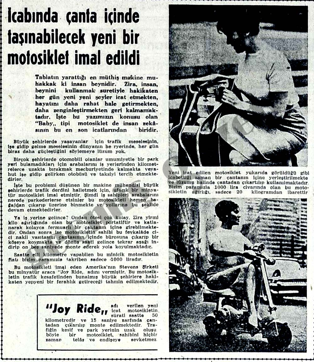 İcabında çanta içinde taşınabilecek yeni bir motosiklet imal edildi