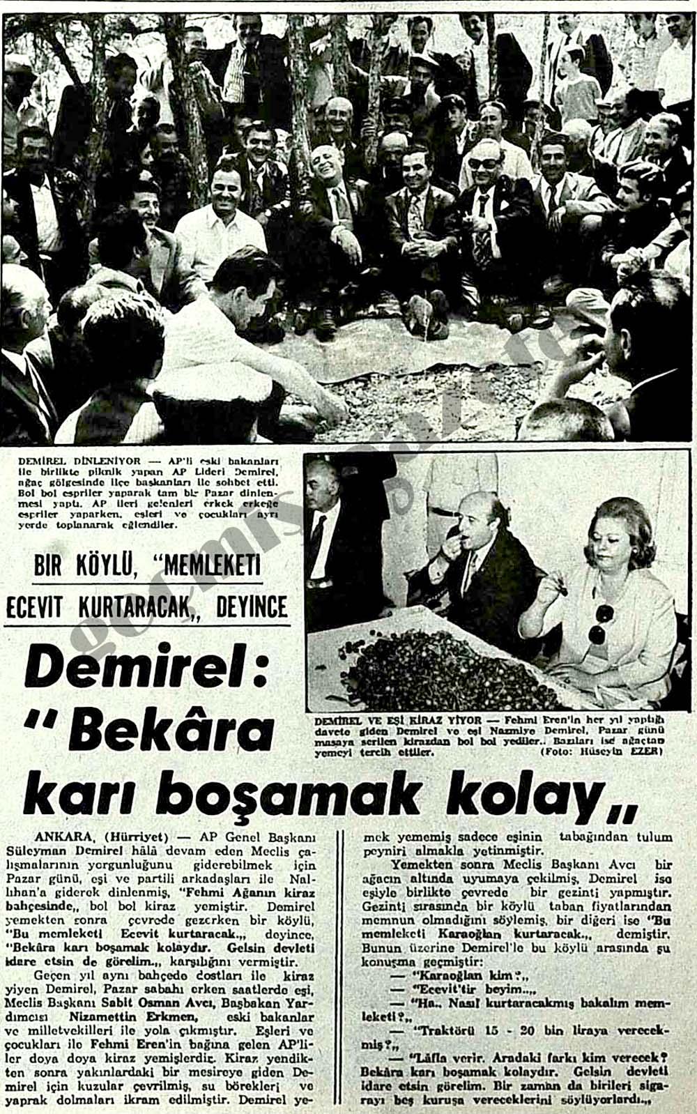 """Bir köylü, """"Memleketi Ecevit kurtaracak"""" deyince Demirel: """"Bekara karı boşamak kolay"""""""