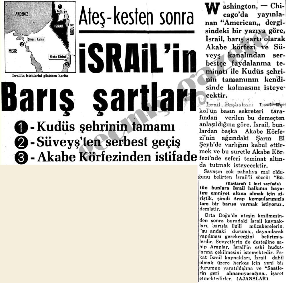 Ateş-kesten sonra İsrail'in Barış şartları