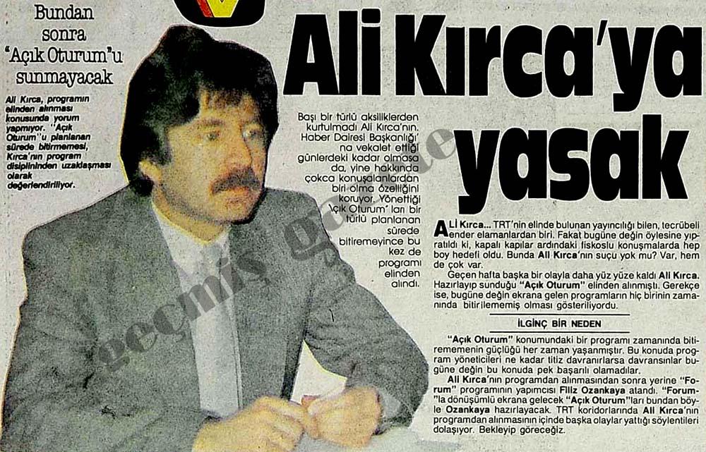 Ali Kırca'ya yasak