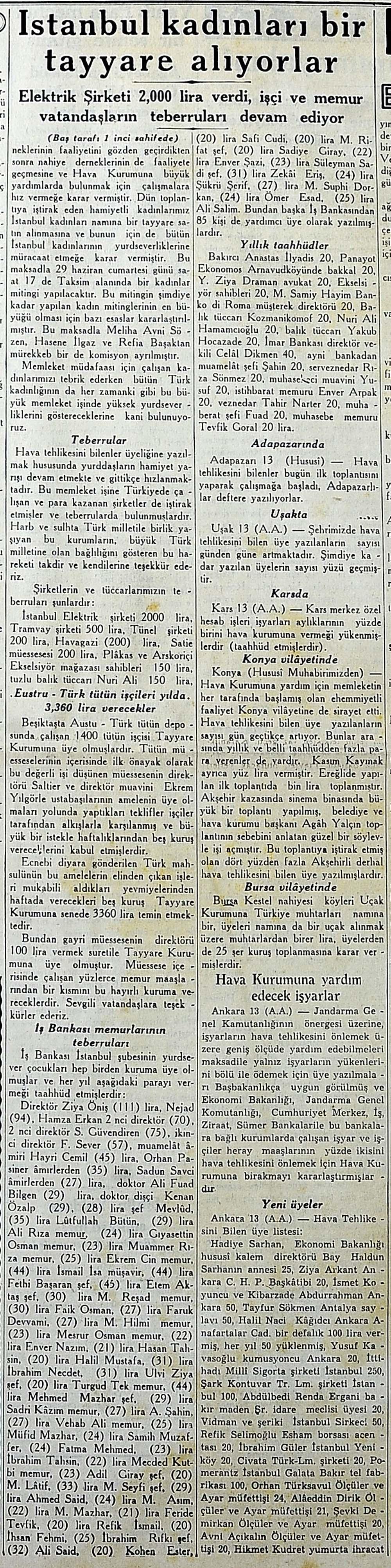 İstanbul kadınları bir tayyare alıyorlar