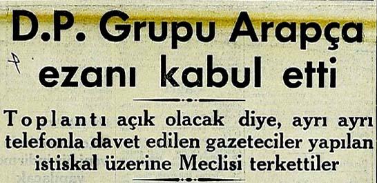 D.P. Grubu Arapça ezanı kabul etti