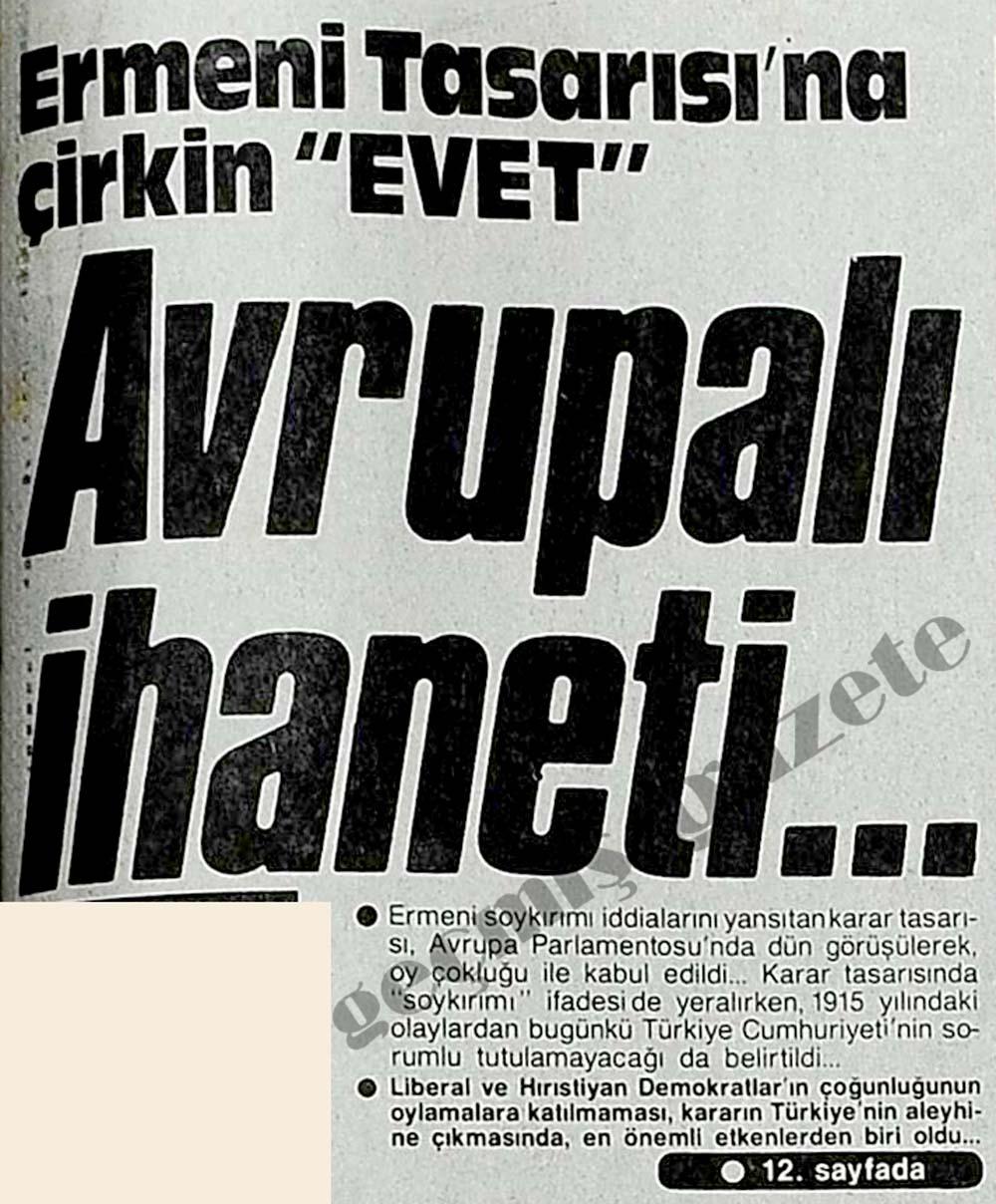 "Avrupalı ihaneti...Ermeni Tasarısı'na çirkin ""Evet"""