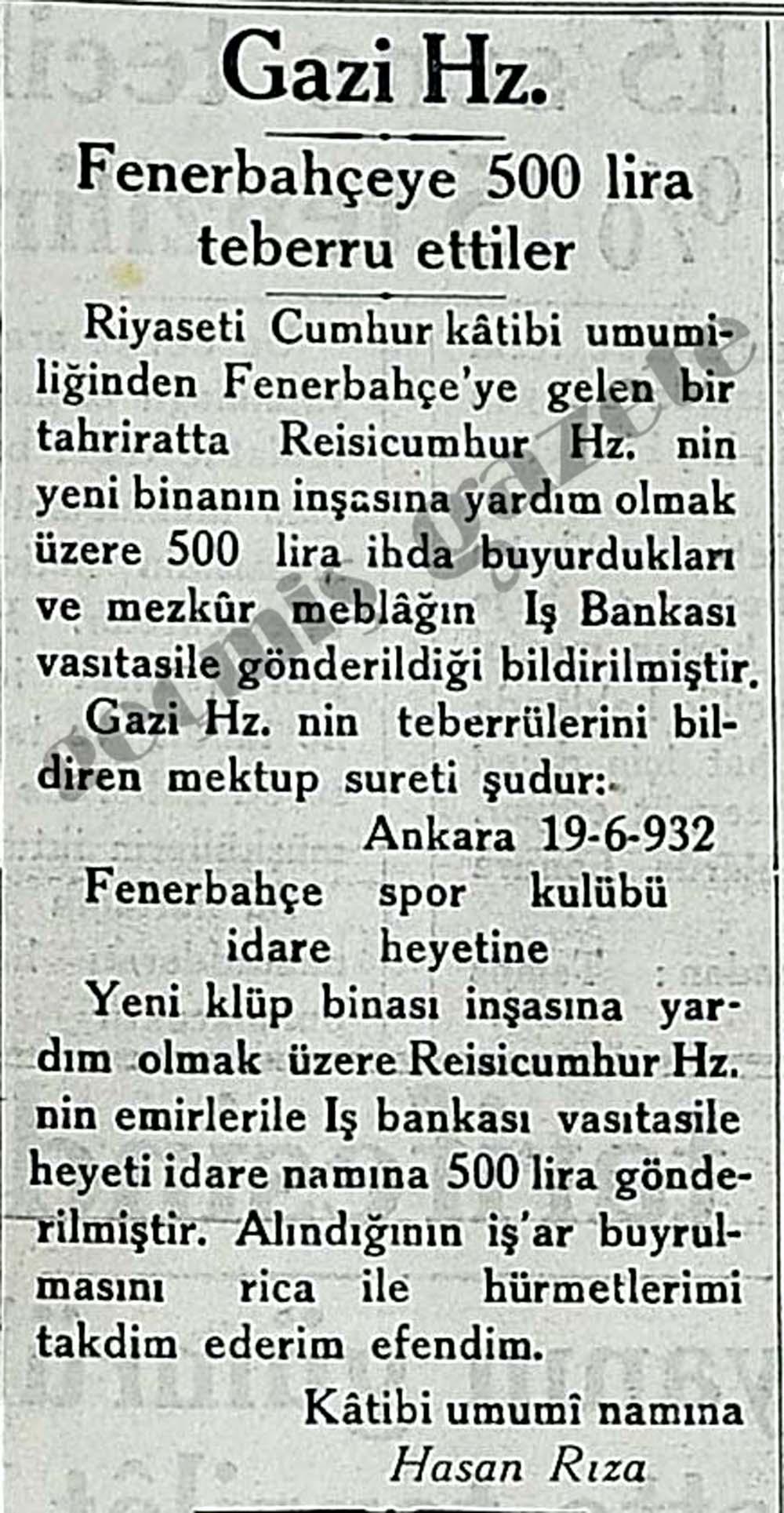 Gazi Hz. Fenerbahçeye 500 lira teberru ettiler