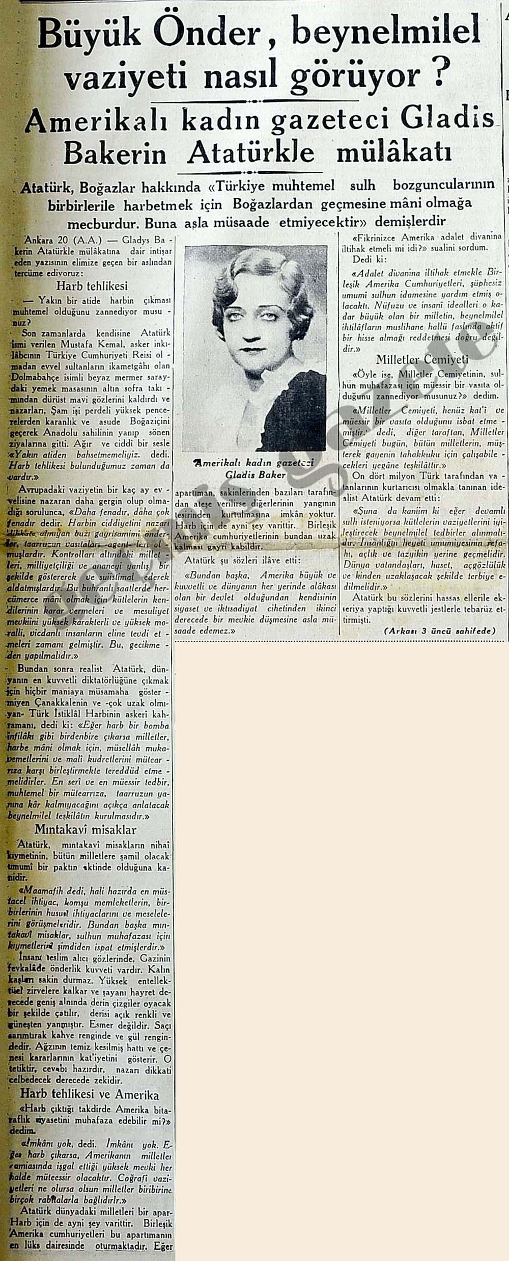Gladis Bakerin Atatürkle mülakatı
