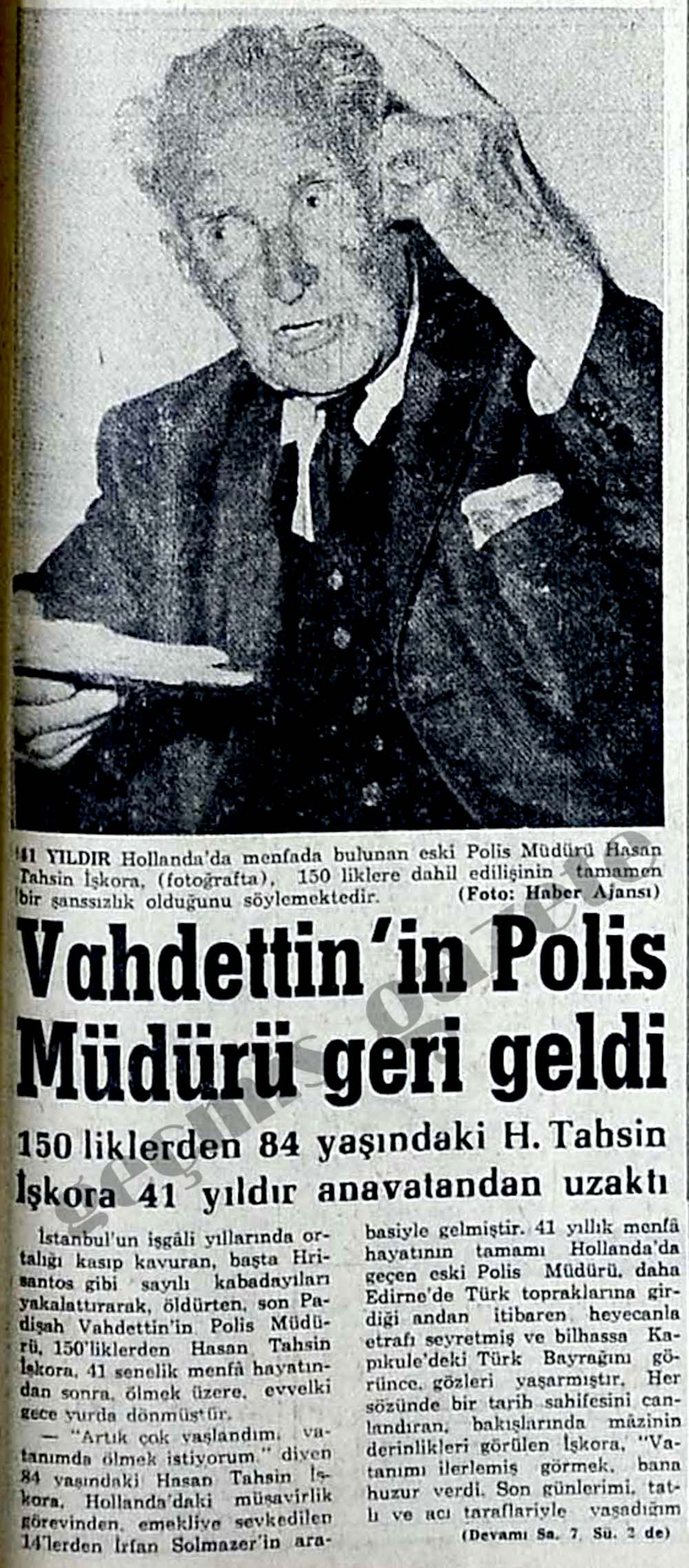 Vahdettin'in Polis Müdürü geri geldi