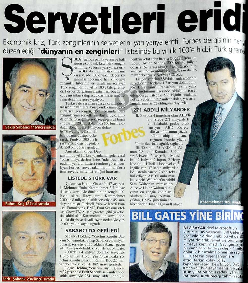 Ekonomik kriz, Türk zenginlerinin servetlerini yarı yarıya eritti
